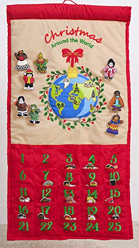 Pockets of Learing Christmas Around The World Advent Calendar, Holiday Countdown, Christmas Holiday Décor, Seasonal Fabric Cloth Wall Hanging