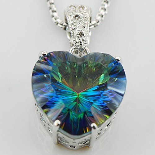 Ddang - Huge Concave Cut Rainbow Topaz 925 Sterling Silver Gemstone Pendant TE567 Pendant necklace JEW 0389