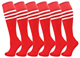 Kids Soccer Socks, 6 Pairs for Boys Girls, Knee High Athletic Sports Football Gym School Team Pack for Children, Youth (Red, Small)