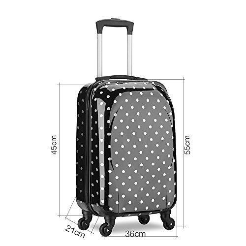 Trolley bagaglio a mano 55x35x20 cm Valigia rigida, guscio duro e antigraffio con 4 ruote. Ideale a bordo di Ryanair, Alitalia, Meridiana, EasyJet, WizzAir.(Nero)