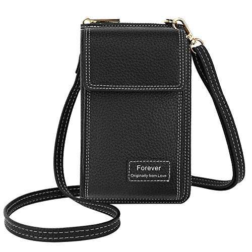 MoKo Crossbody Cell Phone Bag, Shoulder Purse Women Pouch Cellphone Purse Travel Wallet with Card Holder, Fit with iPhone 12/11 Pro Max, iPhone 8/7/6s Plus, Galaxy S10 Plus, Galaxy Note 9/8, Black