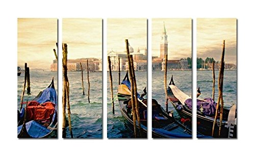 Real Hand Painted Italy Venice Gond on Grand Canal 5 Pieces Canvas Oil Painting for Home Wall Art Decoration, Not a Print/ Giclee/ Poster, FRAMED, READY TO HANG