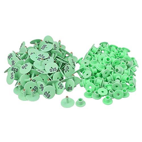100PCS rotonda forma verde animale tag orecchio con parole 1-100 per piccolo bestiame, Verde, 100