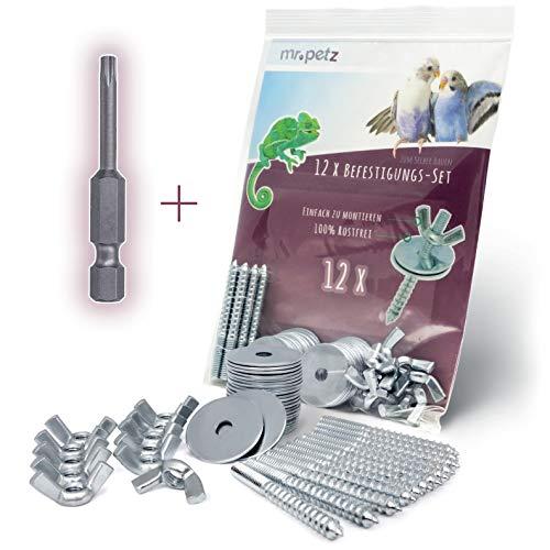 Mr. Petz 12 x Befestigungsset + Torx Bit zum Selbstbau von Sitzstangen / -Brettchen für Vögel zur Befestigung am Käfig (Gitter-Gestänge). Für Vogelkäfig und Voliere geeignet (49-teilig)