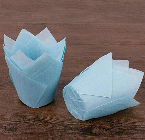 Sopeace Tulip Baking Cups | Cupcake or Muffin Liners, 100 Count (Blue)