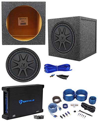"Kicker 44CVX124 CVX 12"" 750w RMS Car Subwoofer+Sealed Sub Box+Amplifier+Wire Kit"