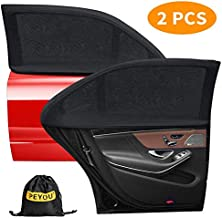 PEYOU Universal Car Side Rear Baby Window Sun Shade,【2020 Upgrade Version】 Breathable Mesh Car Window Curtain-Fit for 95% Cars-Protect Kids Pet from The Sun-Cover Full Window-Travel E-Book-2 PCS