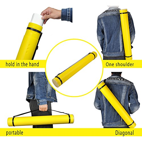 """Miyare Portable Flexible Document Poster Tube, Expands from 24.5"""" up to 40"""" with Clear ID Card Cap Perfect Water and Light Resistant Telescoping for Posters, Artwork and Drawings Black (Yellow) Photo #2"""