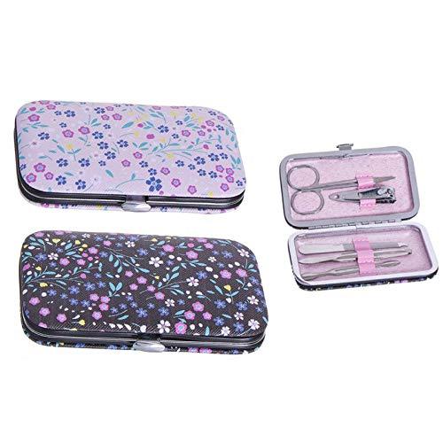 Home & Mas manicure-set met schaar en nagelknipper, pedicureset met vijl, nagelriemverwijderaar en pincet. 2 bloemmodellen, 10,8 x 6,3 x 1,8 cm.