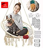 Nooksta LED Hanging Chair Swing, Included Pineapple Decor Cushion & Hanging Kit. Cool Chairs for Teens Bedrooms Girls, Indoor Egg Chair.