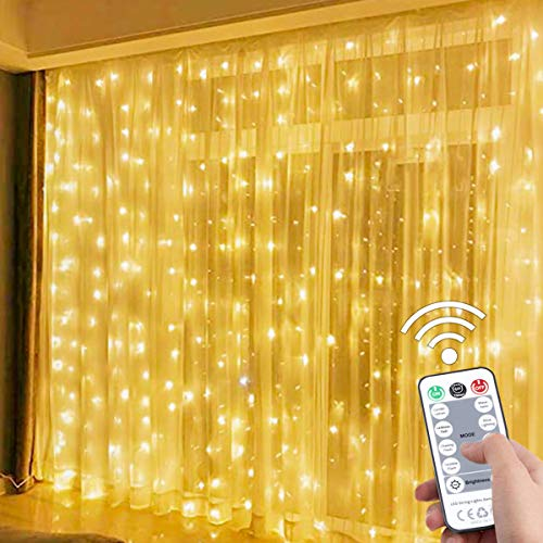 SUWITU 300 LED Window Curtain String Light, USB Plug in 8 Modes Fairy String Lights with Remote Controller for Bedroom, Indoor, Outdoor, Weddings, Party, Decorations(9.8x9.8Ft)