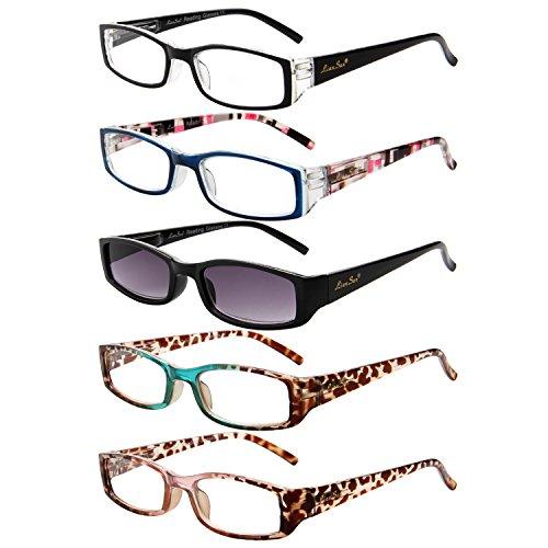 LianSan Rechthoek Sun Readers Brillen 1.0 1.25 1.5 1.75 2.0 2.25 2.5 2.75 3.0 3.5 4.0 Womens Dames Zonnebril Leesbril L3200 5-Pack 1.0