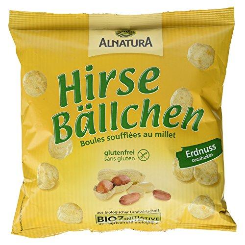 Alnatura Bio Hirsebällchen Erdnuss, glutenfrei, 8er Pack (8 x 75 g)