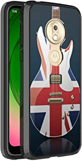 Moriko Compatible with Moto G7 Play [Fusion Gel Slim Thin Hybrid Jelly Drop Protection Shockproof Black Phone Case Protector Cover] for Motorola Moto G7 Play XT1952 (British Flag Guitar)