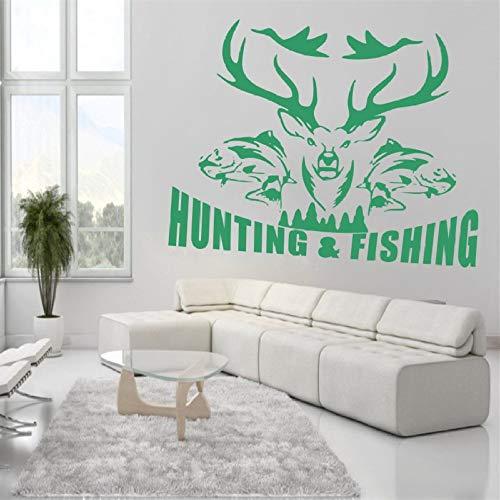 Geiqianjiumai Artiest huisdecoratie vogel jacht vissen herten muur applique vinyl sticker slaapkamer woonkamer decoratie