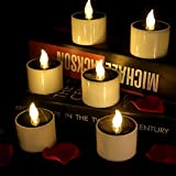 Horeset 6pcs Warm White Solar Power Flickering Electronic LED Flameless Candle, Battery Operated Tealights, 2 x 2.3' Smoke-Free for Christmas Thanksgiving Wedding, Birthday,Party,Outdoor