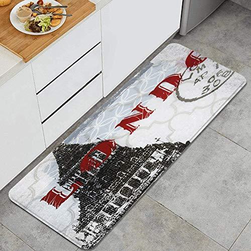 VINISATH Alfombra de Cocina,Antropología World Traveller Londres,tapete Decorativo para Piso de Cocina con Respaldo Antideslizante, 47'x17'