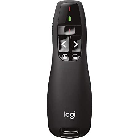 Logitech R400 Télécommande de Présentation sans Fil, 2,4 GHz/Récepteur USB, Pointeur Laser Rouge, Portée de 15 Mètres, 6 Boutons, Commande Intuitive de Diaporama, Indicateur de Batterie, PC - Noir