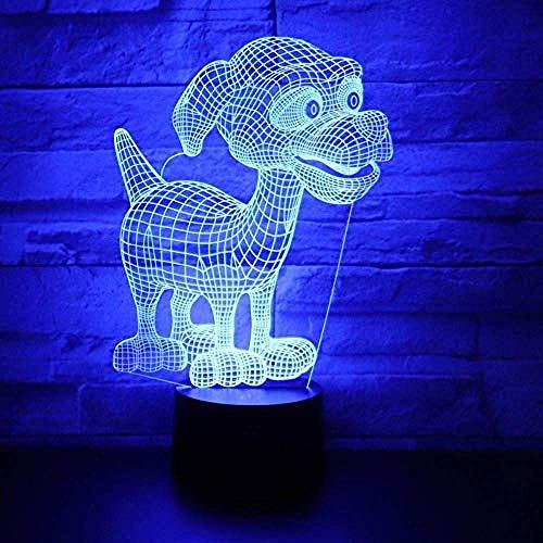3d lampara de la noche LED Luz de Noche Animal dogs in awe mejor regalo de para niños y niñas Con interfaz USB, cambio de color colorido