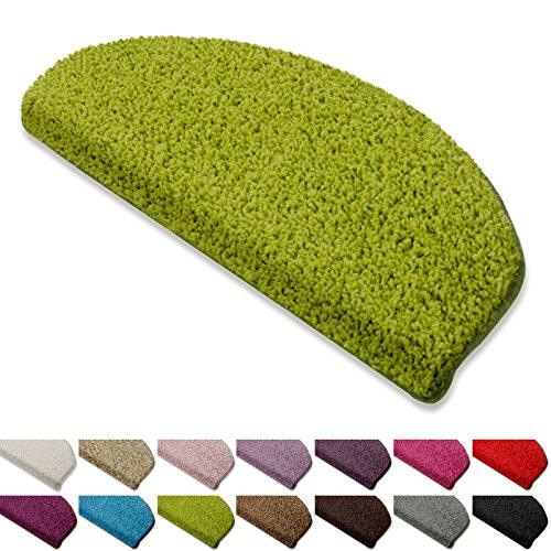 Floordirekt Shaggy-Stufenmatten Barcelona | Halbrund oder Eckig | Treppenmatten in 16 Farben | Strapazierfähig & pflegeleicht | Stufenteppich für Innen (Grün, Halbrund 65 x 23,5 cm)