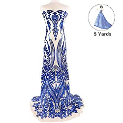 Pattern 7-Blue 5 Yards Mesh Tulle Embroidered Fabrics With Sequins