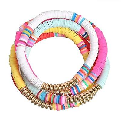 5 Pcs Colorful Sliced Clay Bracelets Handmade Rainbow Polymer Elastic Rope Boho Beaded Bracelet Set Summer Beach Surf Stackable Stretch Colorful Bracelets Jewelry for Women