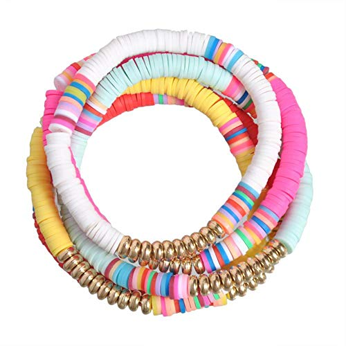 The Woo's 5 Pcs Colorful Sliced Clay Bracelets Handmade Rainbow Polymer Elastic Rope Boho Beaded Bracelet Set Summer Beach Surf Stackable Stretch Colorful Bracelets Jewelry for Women