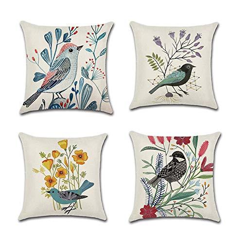 COWORK - Juego de 4 fundas de cojín de lino y algodón con diseño de pájaros y flores, 45 x 45 cm con cremallera invisible