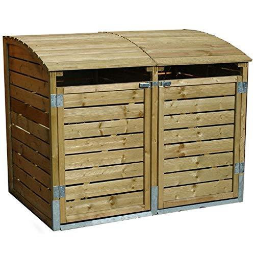Mülltonnenbox Holz LEO 2 x 240 Liter Mülltonnenverkleidung Müllbox Müllcontainer