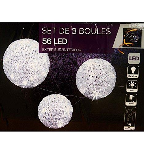 Lot 3 boules 56 LED blanc froid