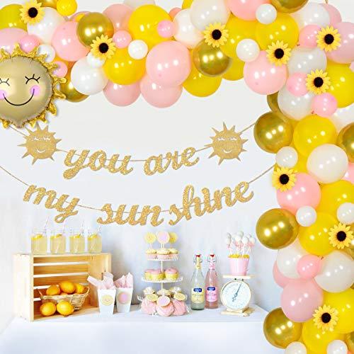 Decorazioni feste girasole Kit arco con ghirlanda palloncini Rosa giallo, You Are My Sunshine Banner, Girasole artificiale ragazze Festa compleanno, Baby Shower, Matrimonio, Laurea, Anniversario