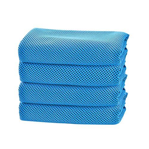XXXG Toalla de enfriamiento Azul Suave Toalla de Hielo Transpirable Toallas de Secado rápido para el Entrenamiento Deportivo Fitness 4 PCS 0128 (Color : Blue, Size : 4pcs)