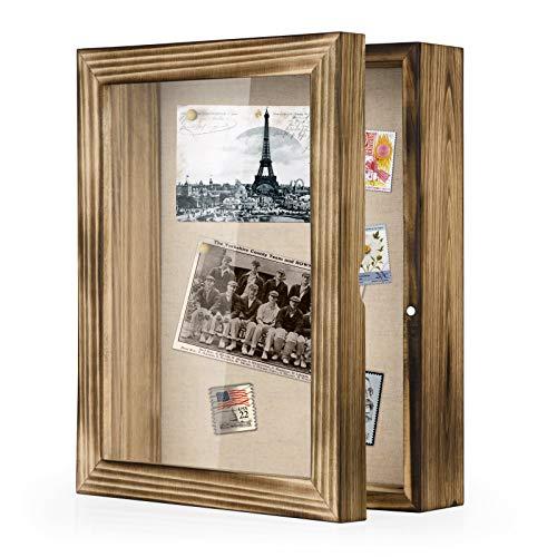 Love-KANKEI 3D Bilderrahmen 20 x 25 cm Holz Objektrahmen zum Befüllen Shadow Box Frame mit 4 Stecknadeln , Geschenk für Familie Freunde usw. (Braun)