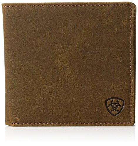 Ariat Men's Distressed Oversized Bifold Western Wallet, Tan, One Size