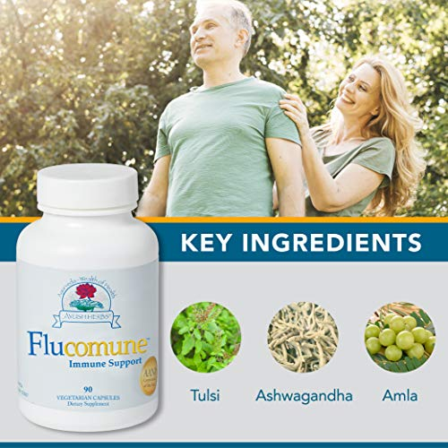 Ayush Herbs Flucomune, All-Natural Ayurvedic Herbal Supplement, Promotes Healthy Lung & Nasal Function, Doctor-Formulated, 90 Vegetarian Capsules