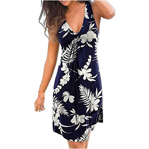 OWildeL Vestido de mujer para la playa, estilo retro, informal, holgado, maxivestido de cintura alta, estampado marine XXL