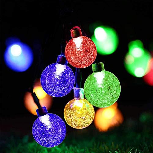 Mture Catena Luminosa Solare, 60 LEDs Catena Luminosa di Palla Cristallina Alimentato da Energia, 11M con 8 Modalità, IP65 Impermeabile, Feste, Giardino, Natale, Matrimonio(colorato)