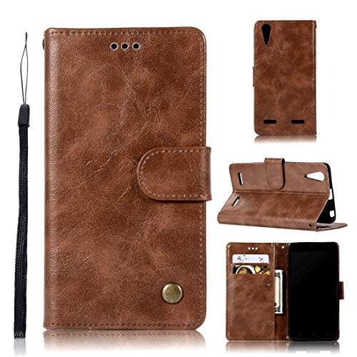 Wblue Mobile Phone Cases for Lenovo A6000 Retro Copper Button Crazy Horse Horizontal Flip PU Leather Case with Holder & Card Slots & Wallet & Lanyard(Wine Red) (Color : Brown)