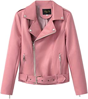 Classic Women Soft Faux Leather Jackets Spring Autumn Lady Motorcyle Zippers Biker PU Jacket Coat Belt