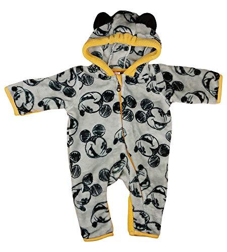 Baby-Kinder Einteiler Kuschel-Walk-Overall Fleece mit Mickey Mouse von Disney in Größe 56 62 68 74 80 86 92 warm mit Ohren-Kapuze Winter mit Handschuhe (Modell 1, 92)