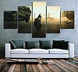 ADGUH 5 Cuadro sobre Lienzo Fotos Wall Art Poster HD Impreso 5 Panel Escape from Tarkov Escena del Juego Fantasy Canvas Home Decor Living Room 5 Impresiones sobre Lienzo