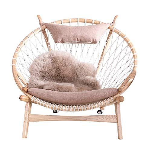 Tägliche Ausstattung Sofastuhl Nordic Massivholz Lounge Chair Coffee Shop Milchtee Shop Kreativer runder Sofastuhl Bequemer Sitz (Farbe: Pink Größe: 113x94.5x88cm)