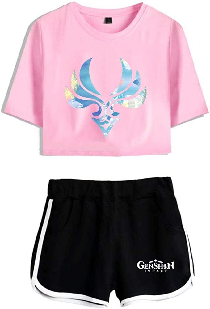 A surprise price is realized WAWNI Genshin Impact Crop Tops gift Shorts+Lovely Two Piece Set T-Shi