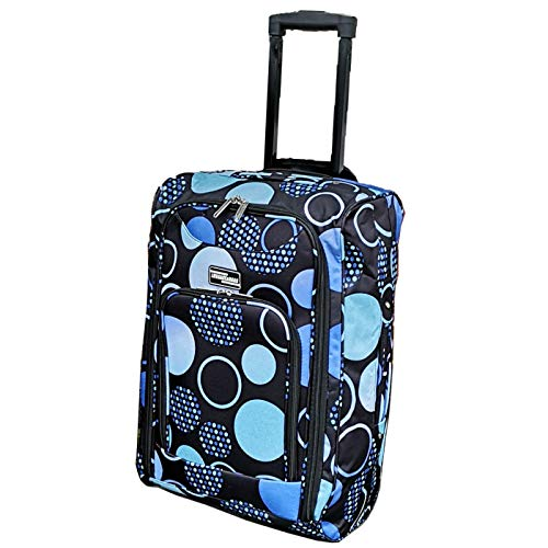 Lightweight Wheeled Cabin Bags, Hand Luggage Trolley Approved for Ryanair, EasyJet, British Airways, Jet2 and More (1 x Blue Circles)