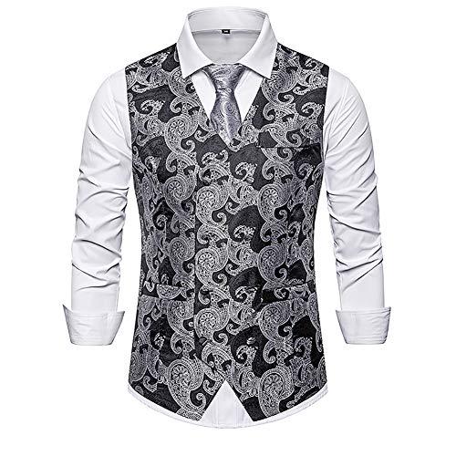 Story of life heren paisley jacquard pak vest twee rijen jurk vest slim fit met V-hals Prom Party Gilet