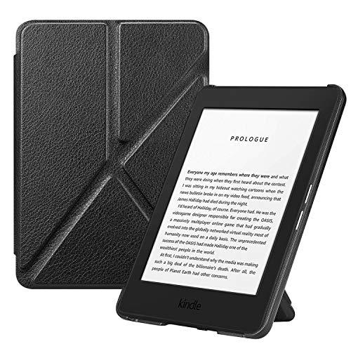FINTIE Origami Funda para Kindle (10.ª generación, 2019) - Carcasa de Cuero Sintético Función de Soporte y Auto-Reposo/Activación (NO se Adapta a Kindle Paperwhite), Negro