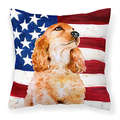 Caroline's Treasures BB9706PW1818 Cocker Spaniel Patriotic Outdoor Canvas Pillow, Multicolor