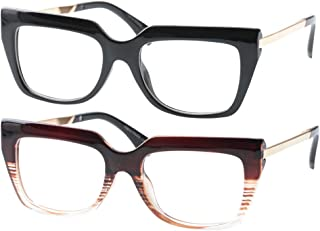 SOOLALA Womens Mens Stylish Big Frame Reading Glass Prescription Eyeglass Frame