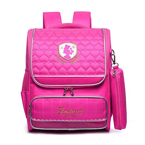 WOCTP Schulranzen, Schulrucksack, Kindergarten, Studentententasche, für Jungen und Mädchen, leichtes Nylon, für die Schule, Gewicht, tragbare Tasche, Prinzessin Gr. 36, Rosered