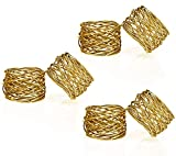 Kaizen Casa Handmade Gold Round Mesh Napkin Rings Holder for Dinning Table Parties Everyday, Set of 6 (Gold, 6)